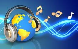 monde 3d en blanc d'écouteurs illustration stock
