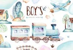 Monde de bébés garçon Illustration locomotive d'aquarelle d'avion et de chariot de bande dessinée Ensemble d'anniversaire d'enfan illustration libre de droits