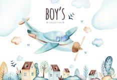 Monde de bébés garçon Illustration locomotive d'aquarelle d'avion et de chariot de bande dessinée Ensemble d'anniversaire d'enfan illustration stock