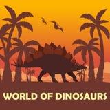 Monde de bannière des dinosaures Monde préhistorique stegosaurus Période jurassique illustration stock