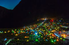 Monde de camping Photographie stock