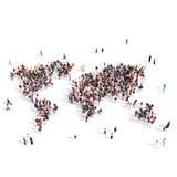 Monde de carte de forme de groupe de personnes Photographie stock