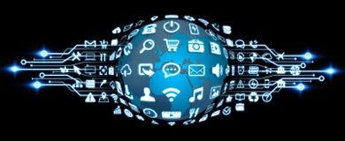 Monde de Digital avec des icônes de Web Images stock