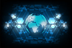 Monde de Digital de l'avenir sur le fond bleu-foncé Photo stock
