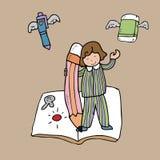 Monde de fantacy de garçon et de crayon Image stock