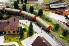 Monde de jouet sur le chemin de fer Photographie stock