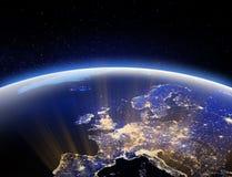 Monde de l'espace - l'Europe Éléments de cette image meublés par le rendu de la NASA 3d illustration libre de droits