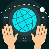 Monde de vecteur avec l'icône colorée de style minimal plat de mains Images libres de droits