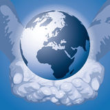 monde de vecteur de mains Image stock