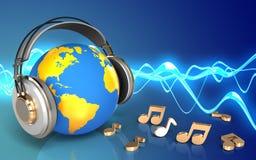 monde du blanc 3d dans des écouteurs illustration libre de droits