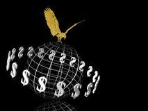 Monde du dollar avec l'aigle sur le dessus. illustration stock