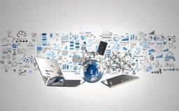 Monde du réseau 3d de media illustration stock