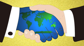 Monde en or de mains Images stock