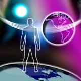 Monde en travers spirituel de foi d'homme   Image libre de droits