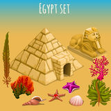 Monde et pyramide sous-marins de l'Egypte Images libres de droits