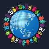 Monde humain d'Asiatique de main de diversité Image libre de droits