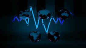 Monde - icônes - graphiques - bleu 02 banque de vidéos