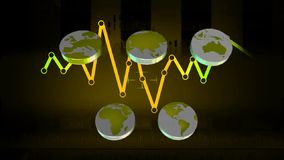 Monde - icônes - graphiques - bleu 02 clips vidéos