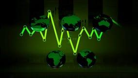 Monde - icônes - graphiques - vert 02 banque de vidéos