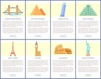 Monde la plupart des affiches célèbres de promo d'attractions réglées illustration de vecteur