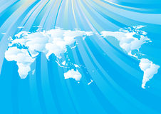 monde nuageux de carte Photos stock