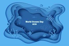 Monde océans jour 8 juin Caverne de mer d'eau du fond de métier de papier avec des poissons, récif coralien, fond de la mer dans  illustration stock
