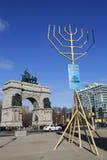Monde plus grand Menorah à la plaza grande d'armée à Brooklyn Photos stock