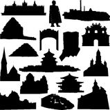 monde renommé de silhouette de reliques d'architecture Photographie stock