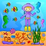 Monde sous-marin avec le plongeur Photographie stock