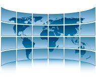 Monde sur des écrans Photographie stock libre de droits