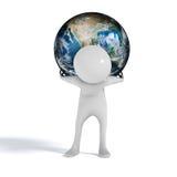 Monde sur le chiffre d'homme d'épaules Image stock
