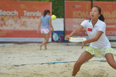 Monde Team Championship 2014 de tennis de plage Photos libres de droits