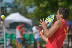 Monde Team Championship 2014 de tennis de plage Photos stock