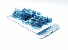 Monde virtuel dans le téléphone intelligent Photographie stock libre de droits