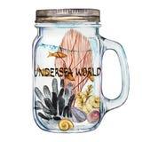 Monde Word-sous-marin Culbuteur d'Isoleted avec Marine Life Landscape - l'océan et le monde sous-marin avec différent Photo libre de droits