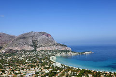Mondello海滩西西里岛 免版税库存图片