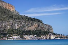Mondello,西西里岛 库存照片