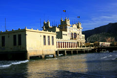 Mondello beach, liberty sea building. Italy Royalty Free Stock Images