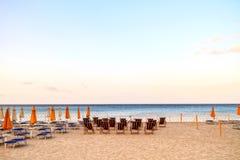 Mondello Beach. Sun loungers at the beach of Mondello in Sicily, Italy Royalty Free Stock Photography