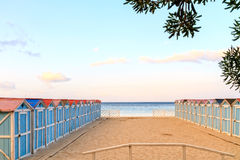 Mondello Cubicles. Changing Cubicles at the beach of Mondello in Sicily, Italy Royalty Free Stock Photography