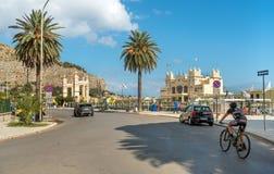 Promenade in the center of Mondello with establishment Charleston, is a small seaside resort near center of city Palermo. stock image