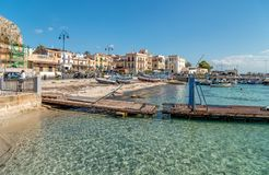 Small port with fishing boats in the center of Mondello near center of city Palermo. Royalty Free Stock Image