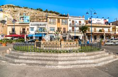 View of Sirena fountain on the central square of Mondello in Palermo. Royalty Free Stock Images