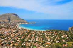 Mondello. Panoramic view of the mondello's gulf. Palerm, Sicily Stock Photos