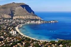 Mondello. Panoramic view of the mondello's gulf. Palerm, Sicily Stock Images