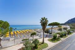 Mondello, Parasols on the beach stock photo
