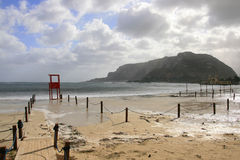 Mondello, Romantic Beach & Sky Seascape Stock Images
