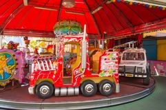 Mondello, Sicily, Europe-10/06/2018 Carousel samochody i ciężarówka obrazy royalty free