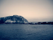 Mondello in Sicily, Italy, in black and white, vintage style Stock Images
