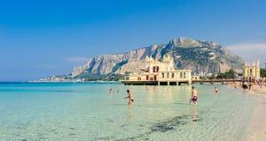 MONDELLO, SICILY, ITALY - people walking and bathing Royalty Free Stock Photo